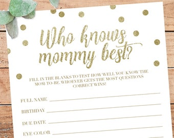 Gold Baby Shower Games Who Knows Mommy Best Game Printable Baby Shower Games Gold Confetti Baby Party Games Mommy Game Baby Shower DIY GCO