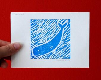 Linoprint Sperm whale