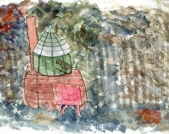 Impressionist Watercolor Greetings Card: Bird and Cage, Marin County | JackieSMontagueArt