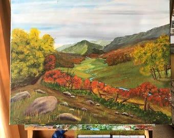 Autumn Meadow, Acrylic Painting, Landscape Nature