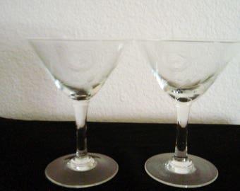 Vintage set of 2 Etched Martini Glasses