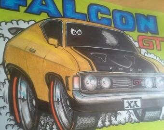 Ford XAGT  Falcon Coupe Cartoon laminated A3 Print