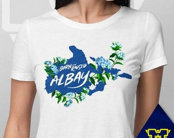 003 -- Albay -- Born & Raised -- S-6XL -- Philippines Themed Shirts -- Blue and White