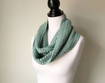 Ready to ship - Handmade Crochet Alpaca and Silk Infinity Scarf in Aqua