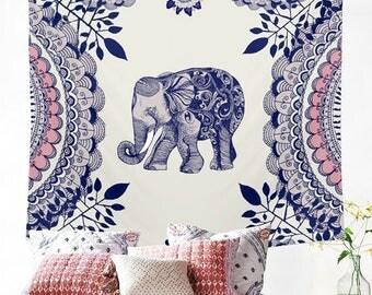 Boho Elephant Mandala Tapestry