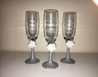 Personalised Glitter Glasses - set of 5