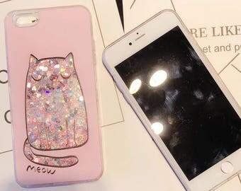 Iphone 7 plus case pink cute cat bling bling liquid glitter