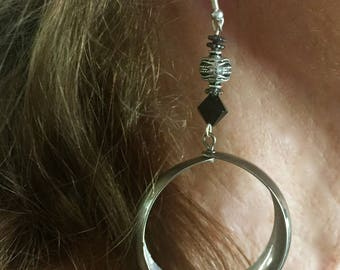 Earrings Sterling Silver Hoops with onyx and silver beads.
