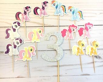 13 Pcs, Custom My Little Pony, My Little Pony Cupcake Topper, My Little Pony Birthday Party, My Little Pony Food Picks, My Little Pony Cake