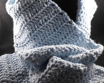 Crocheted Scarf - Light Blue