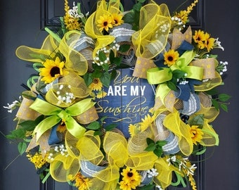 "Denim and burlap sunflower spring/summer wreath ""You are my sunshine"""