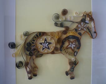 Brown horse in quilling Board