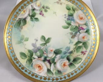 Handpainted Antique M de Mavaleix Limoges White Rose Plate : antique rose plates - pezcame.com