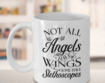 nursing student, gifts for nurses, nursing graduation, school nurse, nurse appreciation, message mug, gift for her, Christmas, angel wings
