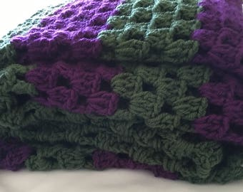 Purple and Green Granny Stitch Afghan