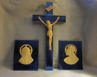 Vintage  Art Deco Blue Mirrored Cross & Mary Jesus Wall Plaques Religious