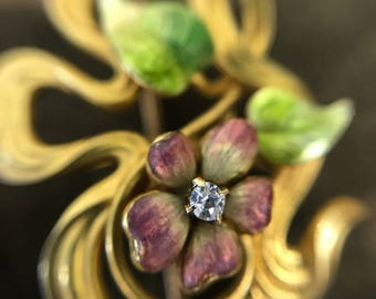 Antique Art Nouveau flower brooch –diamond, gold and enamel, Link & Angell