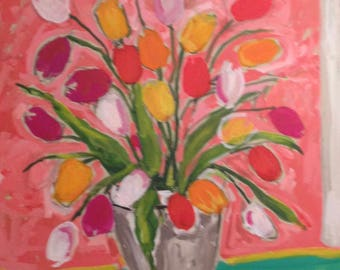 Large contemporary tulip painting