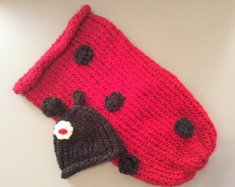 Newborn Ladybug Cocoon and Hat  MADE TO ORDER