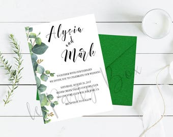 Summer Leaves - Wedding Invitation Set - Invitation, RSVP, Details, Save the Date and Place Card