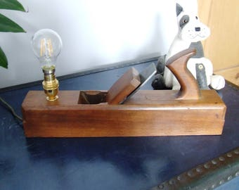 Vintage block plane desk lamp