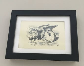 Classic Alice in Wonderland Illustration - framed Postcard - Sleeping Griffin -Black and White