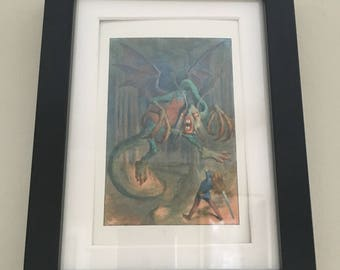 Classic Alice in Wonderland Illustration - framed Postcard - The Jabberwocky