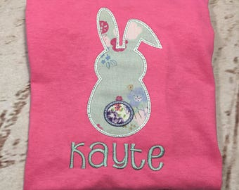Girls Easter Bunny Backside Tail Applique short sleeve with name Toddler and Youth size FREE SHIPPING
