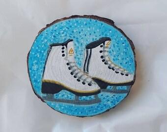 Wood log - ice skates