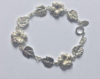Hibiscus Bracelet /  Sterling silver Hibiscus bracelet with amethyst stones