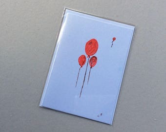 Ballooned- Hand Painted Original - Art on a Card -Greeting card