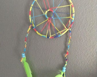 Blue, Pink, and Green Dream Catcher