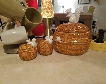 Lovely Squirrel Peeking Out Of A Acorn Nut Dish And Salt And Pepper Set!