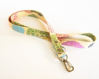 Colorful Laces Lanyard, Lace Print Fabric Lanyard, Work ID Holder, Doilies Key Lanyard, Teacher Lanyard, ID Badge Holder, Made To Order