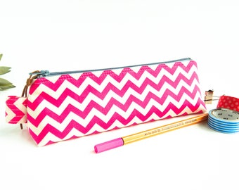 Pink Chevron Pencil Case, Pink Zipper Pouch, Small Stationery Pouch, Desk Accessory, Makeup Brush Pouch, Student Gift, Back to School Pouch