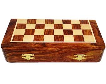 "10"" Travel Chess Set Wooden Magnetic Folding Inlaid Golden Rosewood Sheesham"