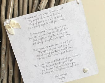 Mum and Dad Wedding Thank You - Wooden Plaque - Personalised