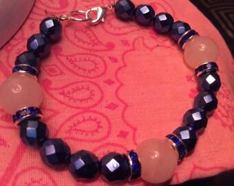 Rose quartz & Czech glass beaded bracelet