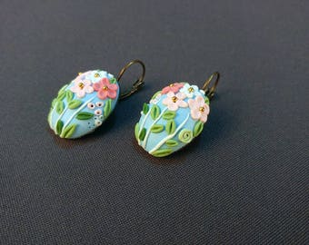 Floral Earrings,Polymer Clay Unique Earrings, Jewelry, Gifts, Wedding Filigree Earrings,Blue Filigree Earrings, Clay Embroidery