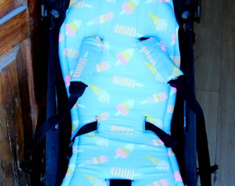 seat stroller liner with strap, stroller pad, pram strap covers, Bugaboo seat, baby carriers&wraps, stroller liner, Babyzen Yoyo, ice cream