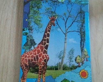 Lovely Giraffe. One of a kind. Collage art.