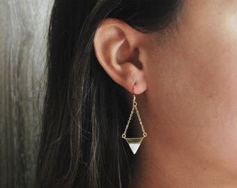 Howlite Triangle Earrings // White Marble Earrings // Dangle Earrings // Gold Delicate Earrings // Gifts for Her // Bridesmaid Gifts