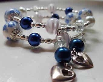 Beaded Blue and White Wrap Around Bracelet