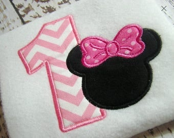 Applique Minnie Mouse machine embroidery instant download design, Happy 1st Birthday, Minnie Birthday, girl appliqué design
