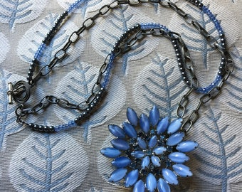 Vintage cornflower blue brooch repurposed as lovely multi-strand necklace with chain and stones