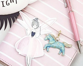 Unicorn TN Planner Charm, Traveler's Notebook Unicorn Charm, Planner Charms, Midori Charm, Planner Decoration, Planner Accessory