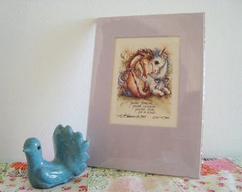 Vintage 1985 Jody Bergsma Lithograph with Mat Unframed in Plastic - Unicorn Pegasus