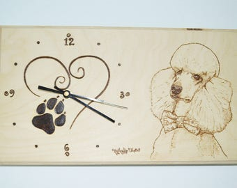 Clock with pyrography wooden Royal poodle dog