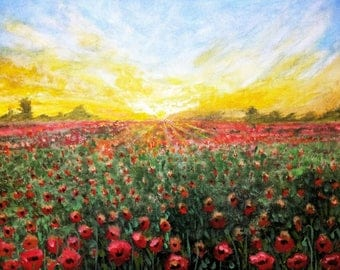Poppy fields painting - red and yellow fields painting - poppy painting - landscape painting - impressionist painting - gift for her