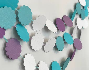 Frozen and Magical Garland, frozen party, Elsa party, frozen decoration, frozen garland, frozen bunting, frozen nursery, scalloped garland